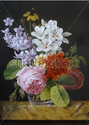 Quadro Rosa in un vaso di vetro. Papaveri, violette, camomilla. Pittura. Natura morta.