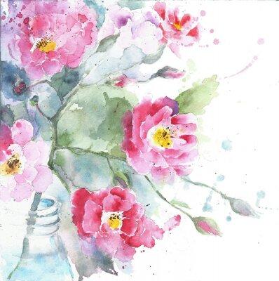 Quadro Rose nel acquerello bottiglia pittura isolato su bianco biglietto di auguri