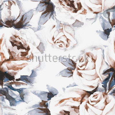 Quadro Rose Seamless. Illustrazione ad acquerello