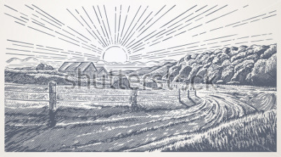 Quadro Rural landscape with village in engraving style. Vector Illustration.