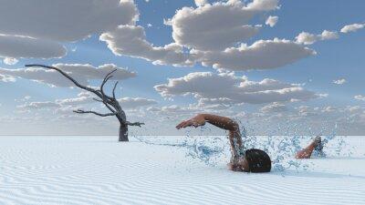 Quadro sabbie del deserto nuotatore