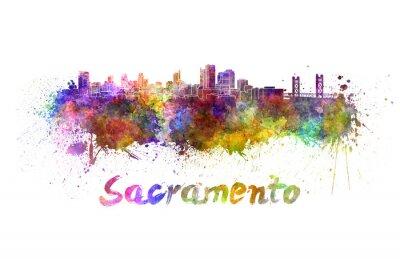 Quadro Sacramento skyline in acquerello