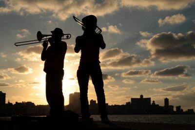 Quadro Sagome Musiciens de devant la ville de La Havane