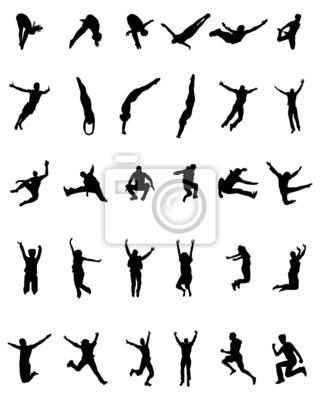 Sagome Persone Nere.Quadro Sagome Nere Di Persone Che Saltano E Volano