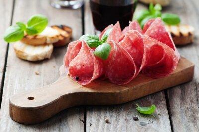 Quadro Salame squisito con basilico e vino
