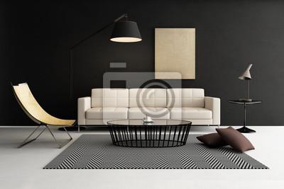 Quadro: Salotto moderno contemporaneo, mobili da salotto