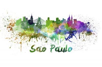 Quadro Sao Paulo skyline in acquerello