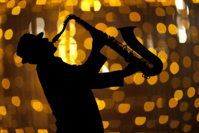 Quadro Sassofonista. L'uomo che giocano sul sassofono