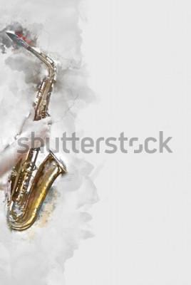 Quadro Sassofono astratto in primo piano. Primo piano, pittura ad acquerello jazz che suona il sassofono.