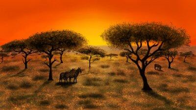 Quadro Savannah al tramonto