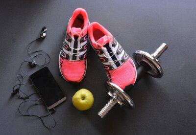 Quadro scarpe da ginnastica, abbigliamento per il fitness