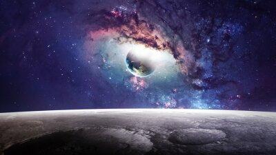 Quadro scena dell'universo con pianeti, stelle e galassie nello spazio esterno che mostrano la bellezza di esplorazione dello spazio. Elementi fornita dalla NASA