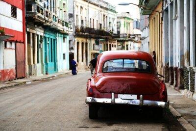 Quadro Scena di strada con auto d'epoca a L'Avana, Cuba