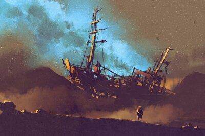 Quadro scena notturna della nave abbandonata nel deserto con il cielo stellato, illustrazione pittura