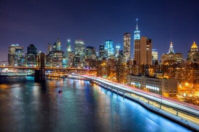 Quadro scena notturna di New York City con Skyline di Manhattan e Brooklin B