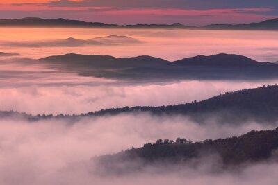 Quadro scenario di mattina in montagna nebbiosa atmosfera
