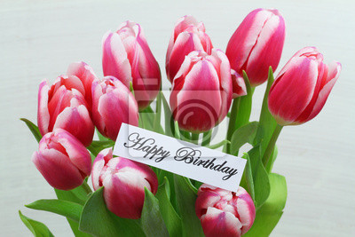 Scheda di buon compleanno con tulipani rosa dipinti da parete ...