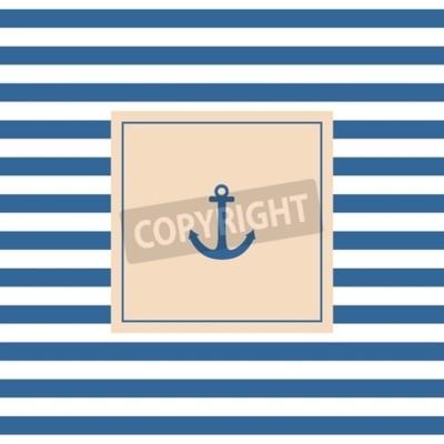 Quadro Scheda di vettore di nautica o invito con sfondo ancoraggio pastello e strisce bianche blu