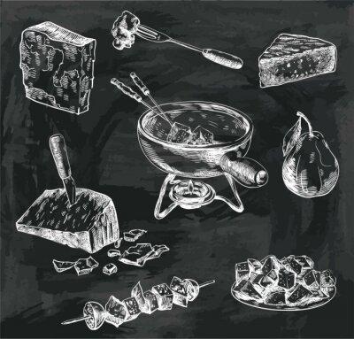 Quadro schizzi formaggio fonduta