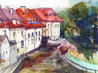 Quadro Schizzo architettonico del libro della cartolina del modello del tessuto del tessuto del fondo del disegno della mano della pittura ceca pittoresca ceca della città
