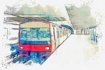 Quadro Schizzo dell'acquerello o illustrazione della metropolitana a Lisbona in Portogallo. Treno della metropolitana tradizionale presso la stazione della metropolitana