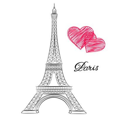 Quadro schizzo di Parigi, Torre Eiffel con i cuori. illustrazione di vettore