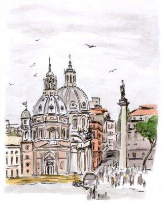 Quadro Schizzo di piazza a Roma