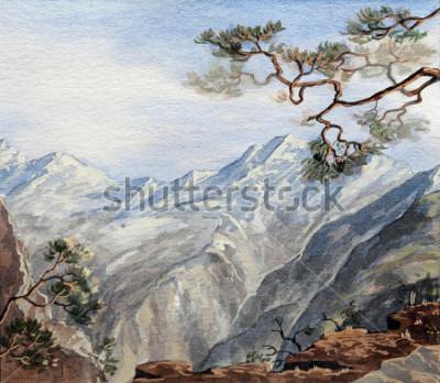 Quadro schizzo disegnato a mano con le montagne