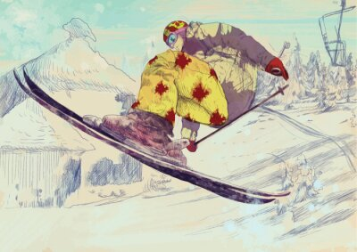 Quadro Sciatore stile libero, trick (questo è disegno convertito in vettore)