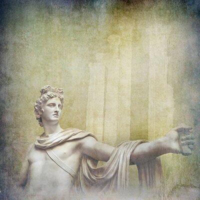 Quadro sculture ellenistiche antichi sullo sfondo del grunge