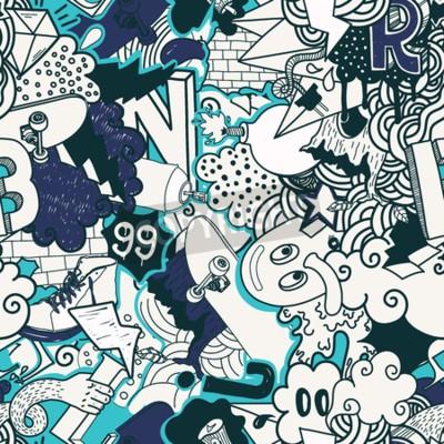Quadro seamless colorato. I graffiti illustrazione arte scarabocchi strada nei colori blu. Composizione elementi bizzarri e caratteri per skate board, abbigliamento strada, streetwear, sfondi tessuto