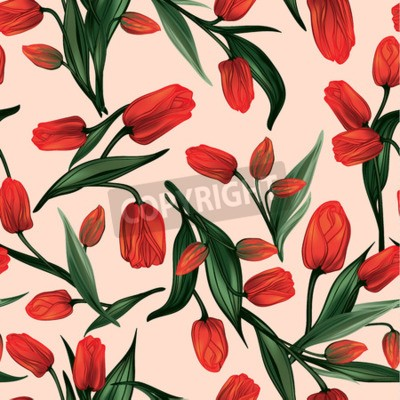 Quadro Seamless floral pattern with of red tulips