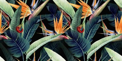 Quadro Seamless floral pattern with tropical leaves and strelitzia on red background. Template design for textiles, interior, clothes, wallpaper. Watercolor illustration