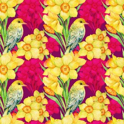 Quadro seamless .illustration acquerello, fiori, fiori di campo, Narciso e uccello Oriole