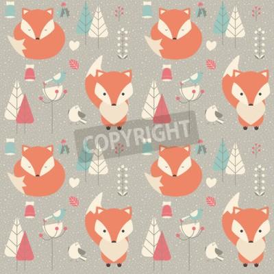 Quadro Seamless pattern con cute baby volpe di Natale circondato con decorazione floreale, illustrazione vettoriale