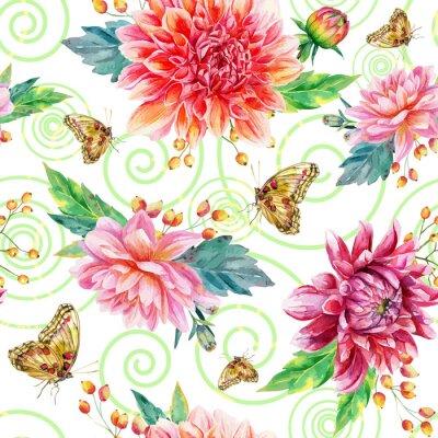 Quadro Seamless pattern con Dalia rossa.