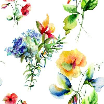 Quadro Seamless pattern con decorativi fiori estivi