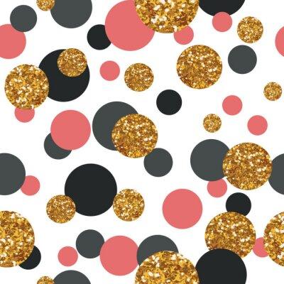 Quadro Seamless pattern con i puntini di scintillio d'oro.