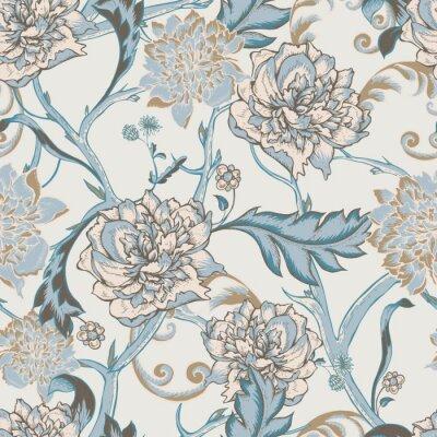Quadro Seamless pattern con peonia in fiore