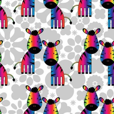 Quadro Seamless pattern con zebre arcobaleno divertenti