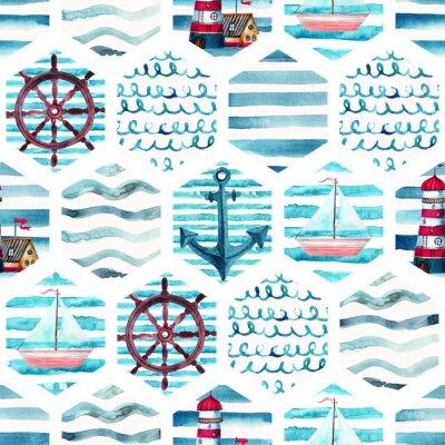 Quadro Seamless pattern di avventura acquerello in stile marino patchwork.