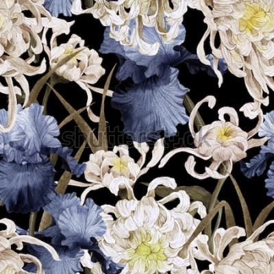 Quadro Seamless pattern floreale con crisantemo e iris, acquerello
