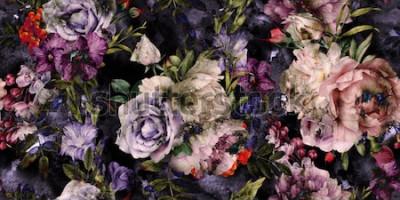 Quadro Seamless pattern floreale con fiori, acquerello