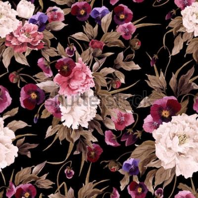 Quadro Seamless pattern floreale con peonie e pansé, acquerello