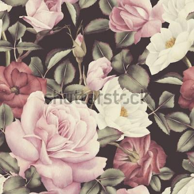 Quadro Seamless pattern floreale con rose, acquerello