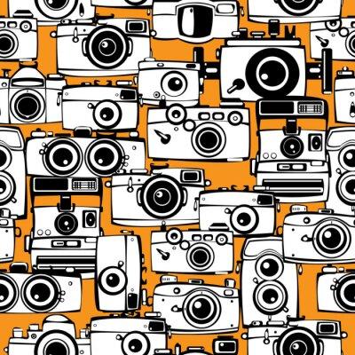 Quadro seamless pattern macchine fotografiche di film d'epoca