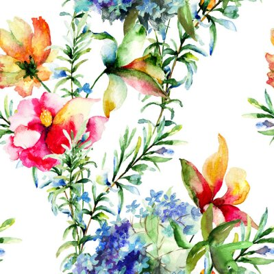 Quadro Seamless pattern with Decorative summer flowers