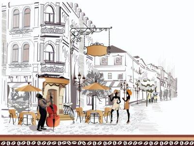 Quadro Serie di vista sulla strada con le persone nella città vecchia