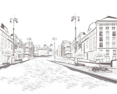 Quadro Serie di vista sulla strada nella città vecchia, schizzo