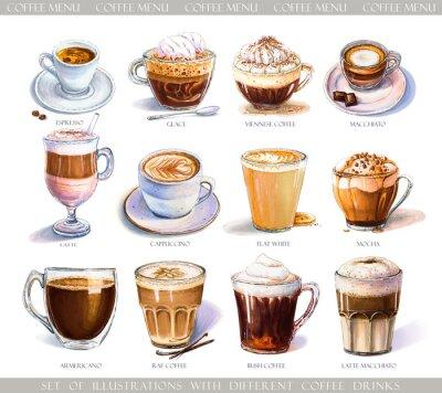 Quadro Set con diverse bevande al caffè per menu bar o caffetteria. Illustrazione di caffè espresso forte, latte delicato, macchiato dolce e cappuccino, caffè viennese e glace con gelato.